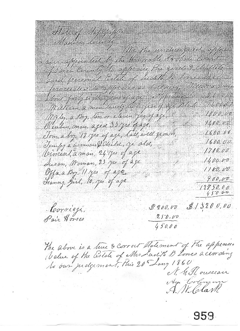Wordy/Wordless Wednesday: My Great, Great-Grandmother's Appraisal