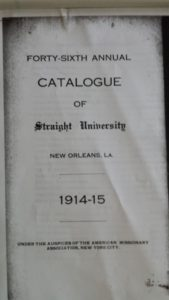A copy of the Straight University catalogue for 1914-1915 class, archived at Amistad Research Center.